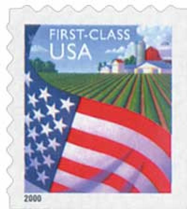 2000 34c Flag Over Farm, non-denominated, self-adhesive, booklet stamp (Avery Dennison)