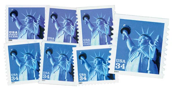 2000-01 Statue of Liberty, collection of 7 stamps