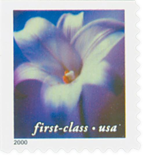 2000 34c Lilies: Longiflorum, 10.5 x 10.75 perf, booklet single