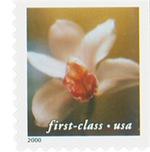 2000 34c Lilies: Cymbidium Orchid, 10.5 x 10.75 perf, booklet single