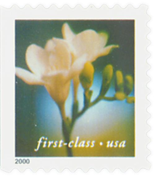 2000 34c Lilies: Freesia, 10.5 x 10.75 perf, booklet single