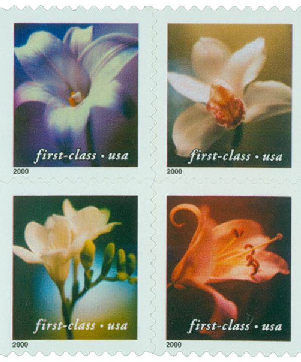 2000 34c Lilies, 10.5 x 10.75 perf, block of 4 stamps