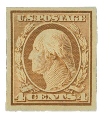 1909 4c Washington, orange brown, double line watermark, imperforate