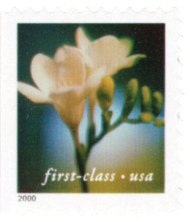 2000 34c Lilies: Freesia, 11.5 x 11.75 perf, booklet single