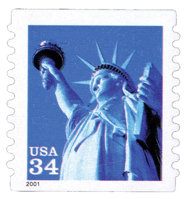 2001 34c Statue of Liberty, s/a coil
