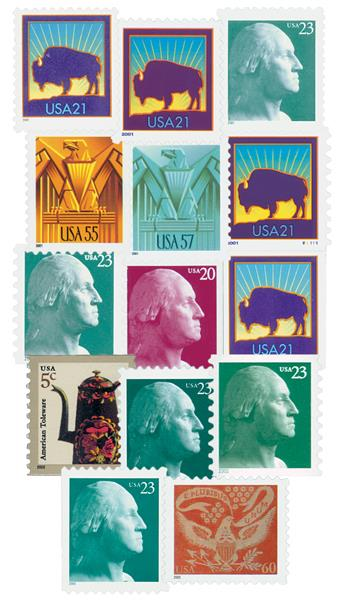2001-02 Symbols of America, collection of 14 stamps