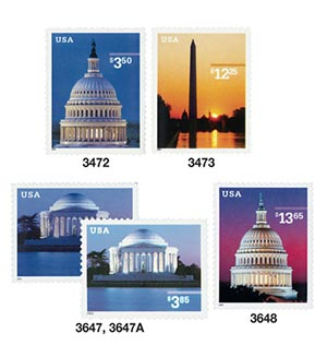 2001-03 National Monuments, collection of 5 high value stamps