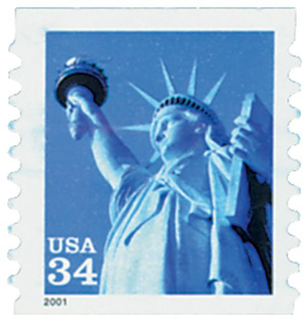 2001 34c Statue of Liberty, coil, square corners