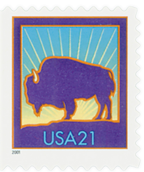2001 21c Bison, die cut 10 1/2 x 11 1/4