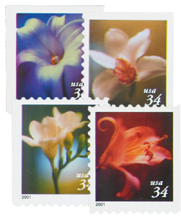 2001 34c Lilies, 10.25 x 10.75 perf, booklet stamps