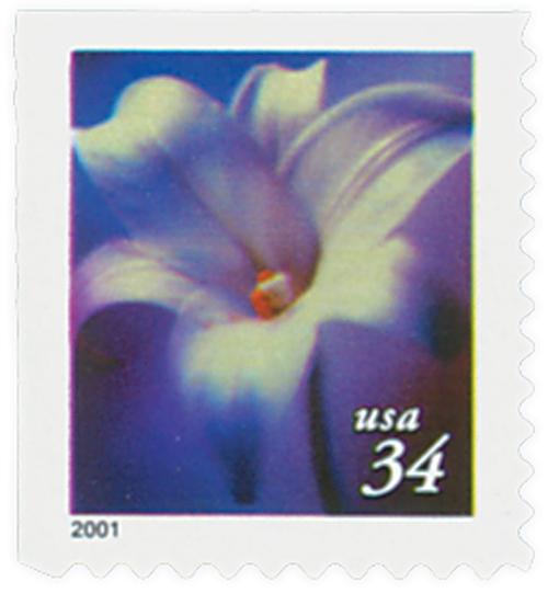 2000 34c Lilies: Longiflorum, 10.25 x 10.75 perf, booklet single