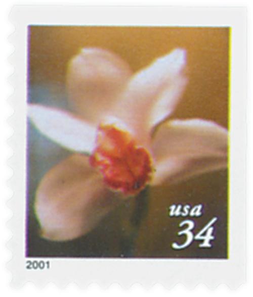 2000 34c Lilies: Cymbidium Orchid, 10.25 x 10.75 perf, booklet single