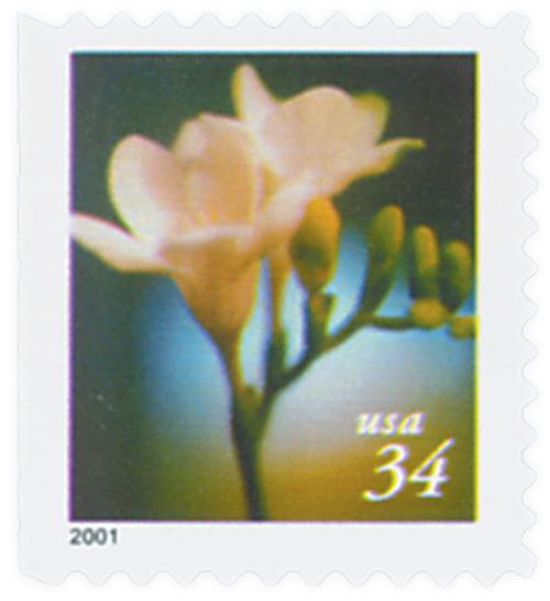 2000 34c Lilies: Freesia, 10.25 x 10.75 perf, booklet single