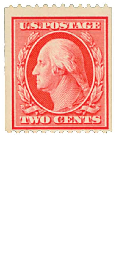1909 2c Washington, carmine, double line watermark