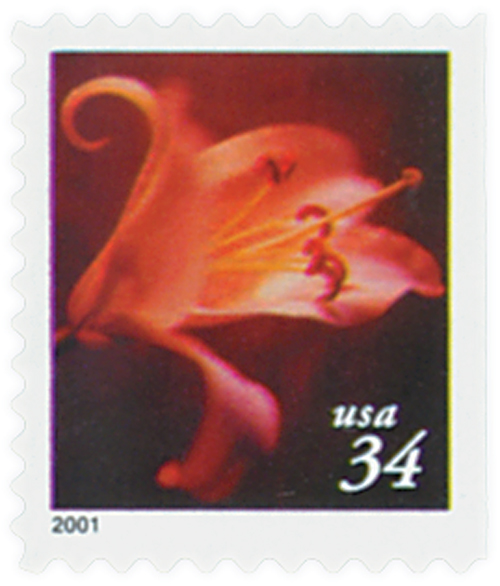 2000 34c Lilies: Asian Hybrid, 10.25 x 10.75 perf, booklet single