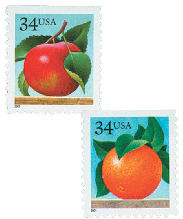 2001 34c Apple and Orange, booklet stamps