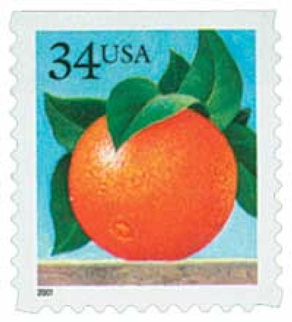 2001 34c Orange, booklet single