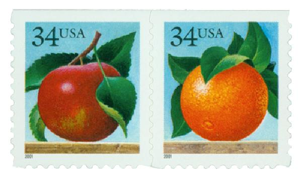 2001 34c Apple & Orange, s/a, pair