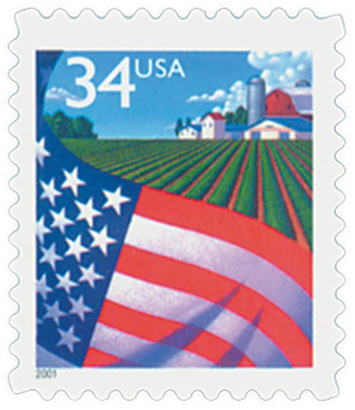 2001 34c Flag Over Farm, self-adhesive booklet stamp (Ashtoin Potter)