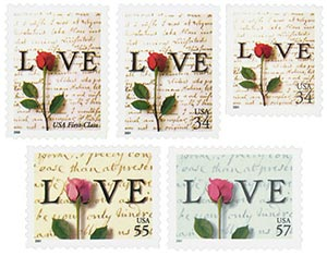 2001 34-57c Rose and Love Letter, collection of 5 stamps
