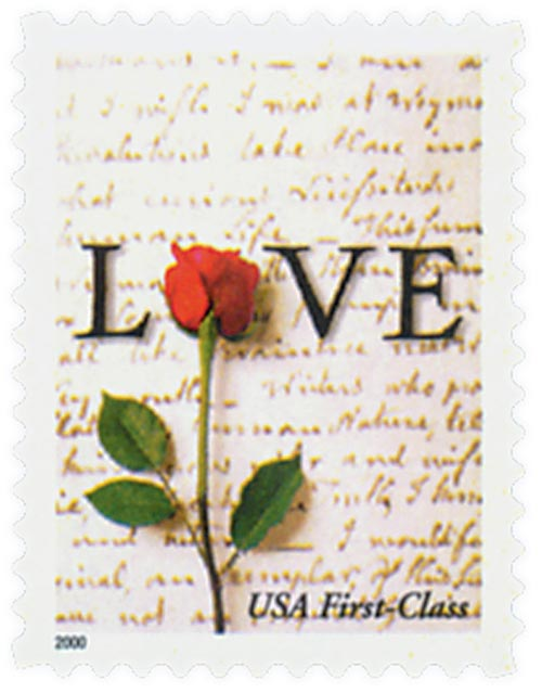 2001 34c Love Series: Rose and Love Letter, non-denominational