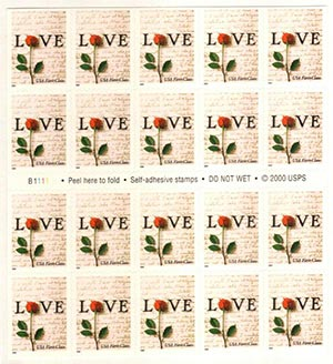 2001 34c Love Non-Denominational Pane 20
