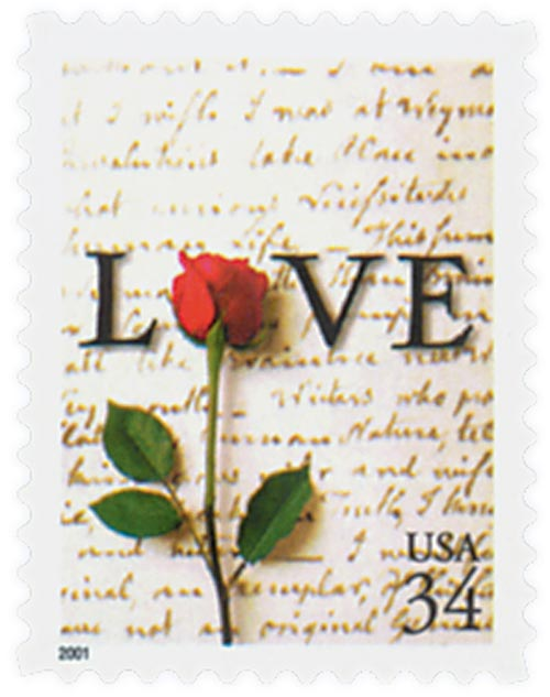 2001 34c Love Series: Rose and Love Letter, booklet single