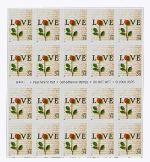2001 34c Rose & Love Letter bklt pane 20