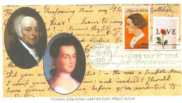 2001 34c Love & 22c Abigail Adams