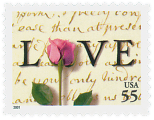 2001 55c Love Series: Rose and Love Letter