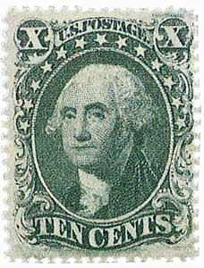 1859 10c Washington, green, type V
