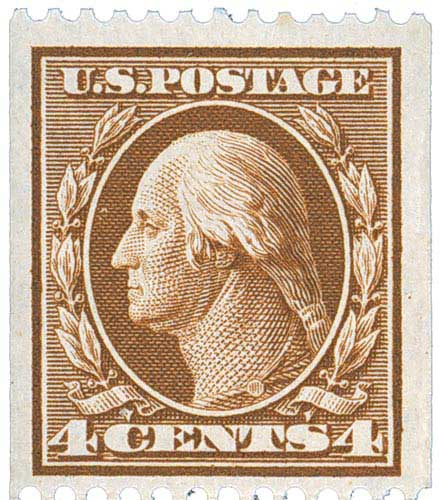 1910 4c Washington, orange brown, double line watermark