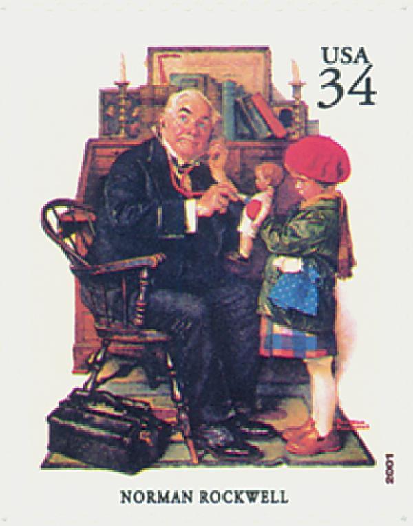 2001 34c American Illustrator Norman Rockwell