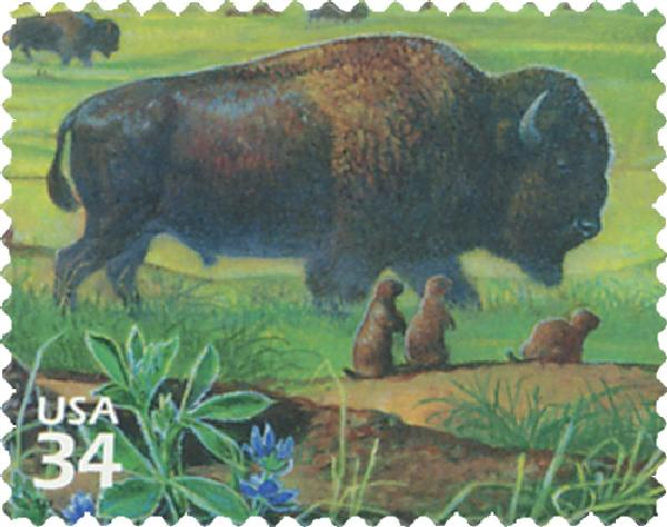 2001 34c Great Plains Prairie: American Buffalo and Black-tailed Prairie Dogs