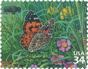 2001 34c Great Plains Prairie: Butterfly and Flowers