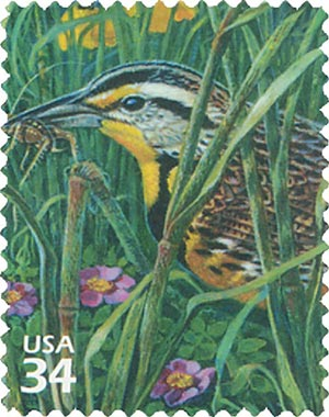2001 34c Great Plains Prairie: Weastern Meadowlark
