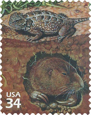 2001 34c Great Plains Prairie: Short-horned Lizard and Gopher