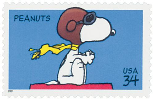 U.S. #3507 pictures Snoopy as a WWI ace fighting the Red Baron.