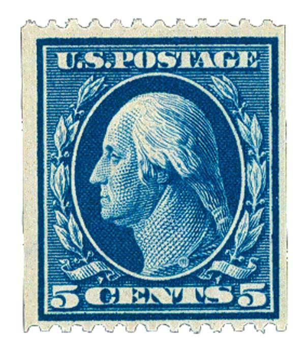 1909 5c Washington, blue, double line watermark