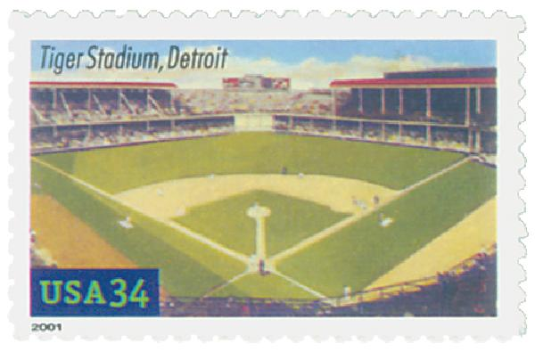 2001 34c Legendary Baseball Fields: Tiger Stadium