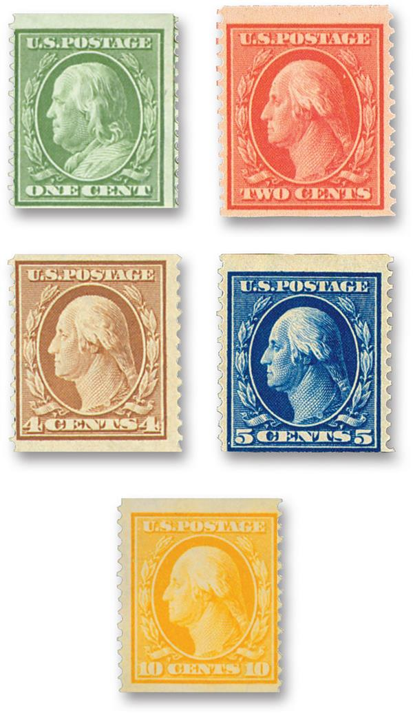 Compete Set, 1909 Coil Stamps Perforated Vertically