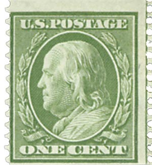 1909 1c Franklin, green, perf 12 vertical