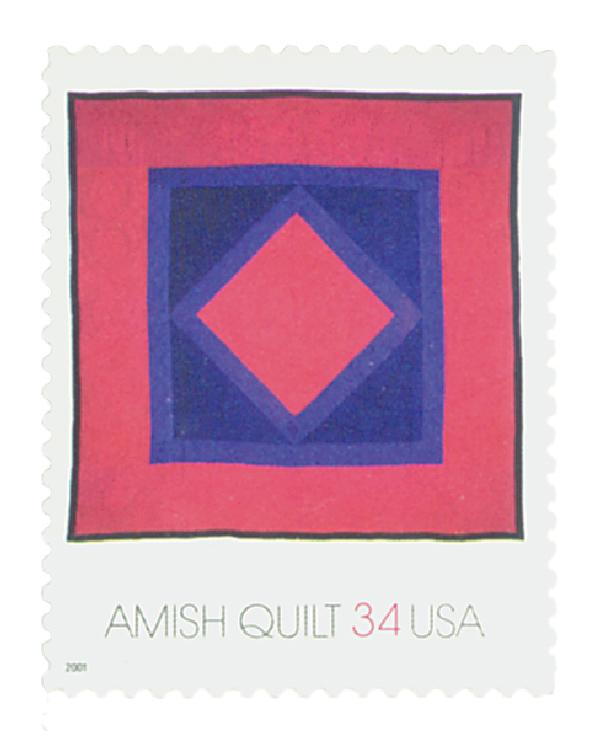 2001 34c Amish Quilts: Red Border with Diamond in Square