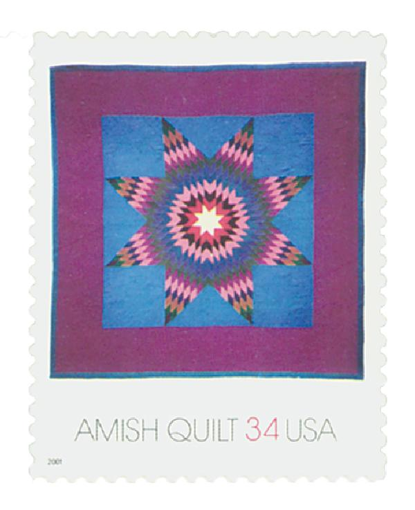 2001 34c Amish Quilts: Maroon Border, Lone Star Quilt