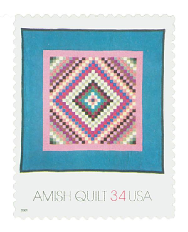 2001 34c Amish Quilts: Green Border, Sunshine and Shadow