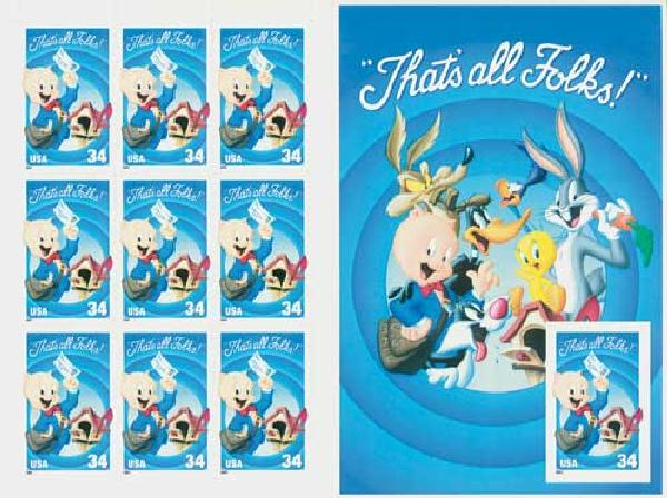 2001 34c Porky Pig, pane of 10 with imperforate