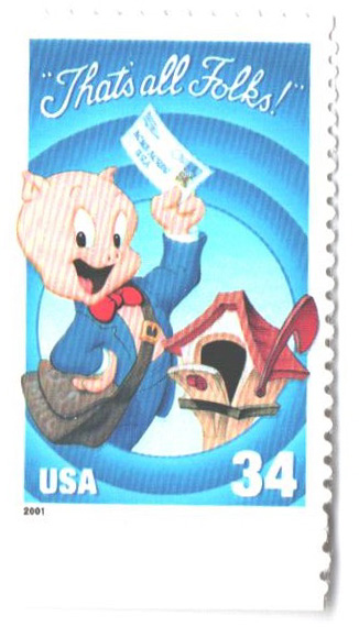 2001 34c Porky Pig, single from pane of 10 stamps