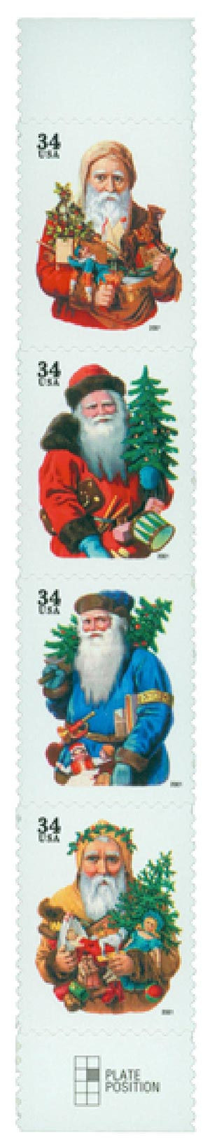2001 34c Contemporary Christmas: Santas, black denomination