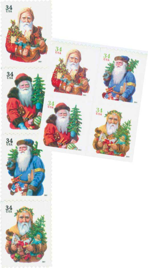 2001 34c Santas, collection of  8 stamps