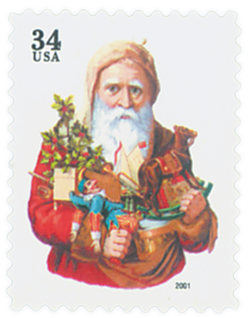 2001 34c Contemporary Christmas: Santa with Toy Horse